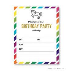 Rainbow Unicorn Birthday Party Invitation, Party Decoration & Supplies