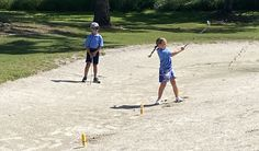 Gotta teach 'em how to get up and down from a bunker while they're young! 🏌️‍♀️ ⛳ Golf Sets, Florida Golf, Girls Golf, Indian River, Golf Player, Vero Beach, Bunker, Foundation, Youth