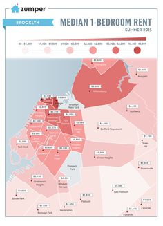 New Maps Show the Insane Rent Prices Across NYC Neighborhoods Real Estate Site, Nyc Real Estate, Rent In Nyc, Brooklyn Map, Manhattan Neighborhoods, Bedford Stuyvesant, Places To Rent, York Apartment, Bedroom Apartment