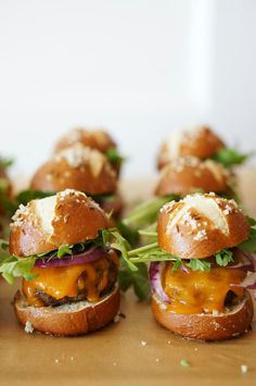Mini Pretzel cheese burger bites.... Yummy :-) Great for cocktail hour.