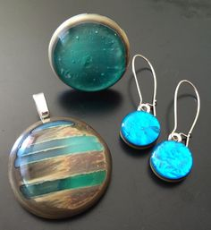 Handmade, fused glass jewelry by Miss Olivia's Line. #MOL #circles #metallic Additional items posted at https://www.facebook.com/MissOliviasLine