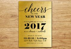 New Year's Eve Party Invitation,  New Year's Eve Invitation, Black and Gold, Gold Foil, Elegant, dIGITAL, Digital Invitation, Black and Gold