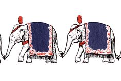 Vintage Circus Clip Art Banner of a Line of Elephants @ Vintage Fangirl