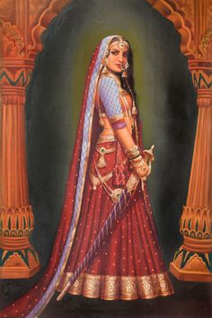 Portrait Drawing Lady with a Sword - Details for Lady with a Sword which belongs to the Oils category in our Paintings collection: Oil Painting on Canvas - Artist: Anup Gomay Rajasthani Painting, Rajasthani Art, Mughal Paintings, Indian Art Paintings, Oil Paintings, Indian Artwork, Bollywood Stars, Indian Women Painting, Indian Folk Art