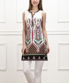 Another great find on #zulily! White & Green Bloom Button-Front Sleeveless Tunic - Women #zulilyfinds