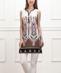 Love this White & Green Bloom Button-Front Sleeveless Tunic - Women on #zulily! #zulilyfinds