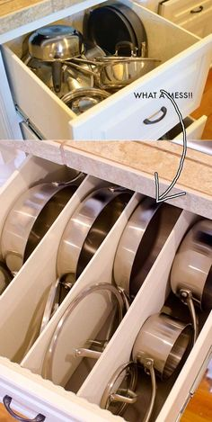 Divide a deep drawer with pieces of plywood to create cubbies for your pots and pans.