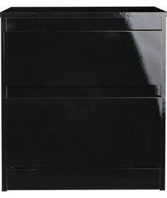 Buy Hygena Hamlin High Gloss 2 Drawer Bedside Cabinet - Black at Argos.co.uk - Your Online Shop for Bedside cabinets.