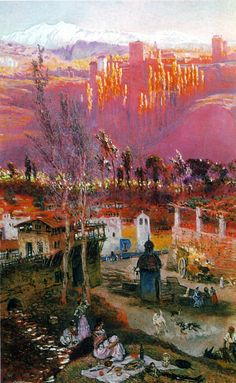 Antonio Muñoz Degrain - 1840-1924 - View on the Alhambra