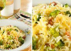 """Arroz de forno com brócolis: uma receita simples e deliciosa. <a href=""""http://mdemulher.abril.com.br/culinaria/receitas/receita-de-arroz-forno-brocolis-646206.shtml"""" target=""""_blank"""">Saiba como preparar. </a>"""