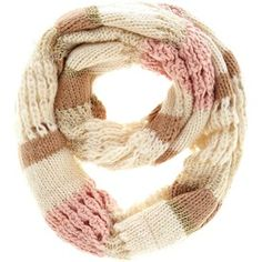 brown, cream, and light pink scarf