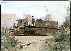British Gun Carrier Mk.1, Supply Tank version ('Harwich' GC141). Bucquoy, Pas-de-Calais. August 1918 (Colourised by Doug UK)