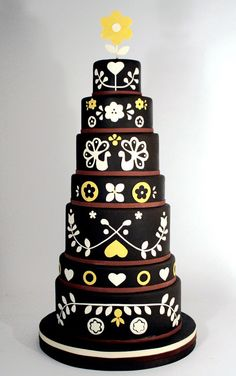 Dutch...inspired wedding cake~ black, white and yellow  www.charmcitycakes.com