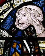 Family Connection Between Anne Boleyn & Jane Seymour  Detail of a stained glass window at Holy Trinity Church, Long Melford, Suffolk, depicting Elizabeth Tilney.