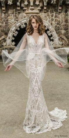 netta benshabu 2017 bridal long angle sleeves neck full embellishment elegant sheath wedding dress open v back sweep train (10) mv