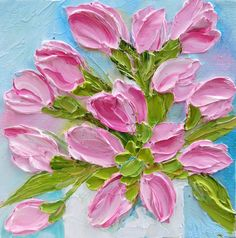 Impasto Tulip Oil Painting Pink Tulip Painting by KenziesCottage