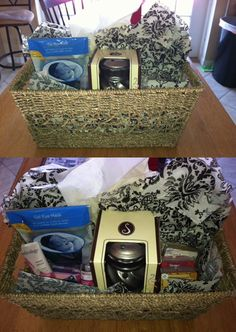 DIY Mother's Day gift basket.   I went to Walmart and bought a basket, a candle wax warmer, scented wax refills, a bunch of little spa/self pamper items, decorative tissue paper and made it myself for way cheaper than any gift baskets Ive seen online.. plus its customized to what you know she likes!