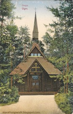 Vintage postcard: Early 20th-century wooden church in Ogre, Latvia