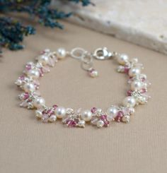 Pink Wedding Jewelry, Pink Bridal Jewelry, Rose Quartz Bracelet with Freshwater Pearls on Etsy, $195.67 CAD