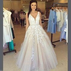 Buy Elegant Floor Length Prom Dress - White Deep V-Neck Lace Waist with Sequins Prom Dresses 2016 under $148.99 only in Dressywomen.