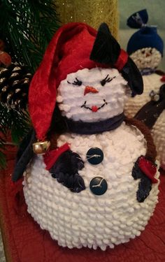 Darling in her red, velvety cap! Handmade Vintage White Chenille Hobnail Bedspread Snowman Christmas Decoration from The Cranberry Smuggler on eBay!