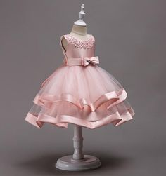 Buy Online Girly Shop's Champagne Beautiful & Cheap Round Neckline Sleeveless Knee Length Tiered Layered Infant Toddler Little & Big Girl Party Dress - Free Shipping