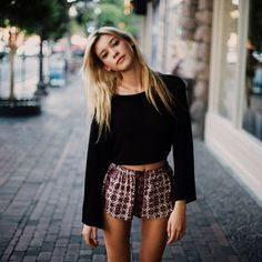 flowy patterned shorts + black long sleeve crop top