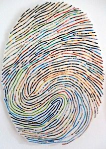 Thumb Print Collage by Cheryl Sorg - take a print of your child's thumb and create an interesting artwork for their bedroom.