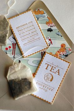 Invitation to a tea shower - so you! Kitchen Tea Invitations, Holiday Invitations, Baby Shower Invitations, Party Invitations, Invitation Ideas, Tea Party Baby Shower, Bridal Shower Tea, Letterpress Invitations, Envelope Liners
