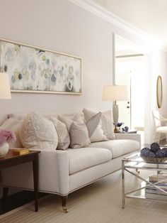 Love the painting and coffee table Custom Sofa - Sarah's Suburban House: New Home, Classic Style on HGTV My Living Room, Home And Living, Living Room Decor, Living Spaces, Living Room Inspiration, Home Decor Inspiration, Decor Ideas, Home Decoracion, Suburban House