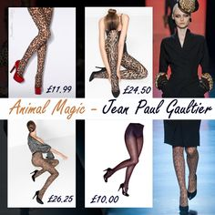 Jean Paul Gaultier stunned us with the Animal Print display this season -   Take your pick from our Animal tights page to get the look!  http://www.tightsplease.co.uk/tights/pattern/animal-print-tights/