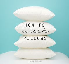 You've wondered if you can wash them - check out this simple tutorial - How to Wash Pillows via Clean Mama