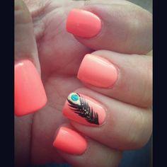 Orange feather nails