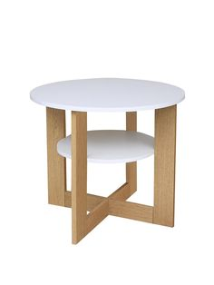 Mey Round White Top Lamp Table - Oak | very.co.uk