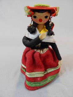 Darling Vintage Peruvian Doll, Tourist Souvenir, Original Clothing, Made in Peru Circa 1940s by SlyfieldandSime on Etsy