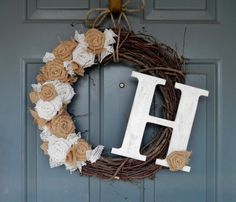 Burlap Monogram Wreath - Burlap Roses with Lace filler and Custom Monogram via Etsy