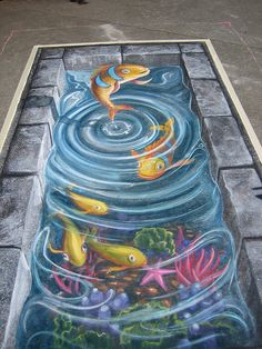 3D chalk fish pavement art, from PixySix's flickr photostream by Ulla Taylor