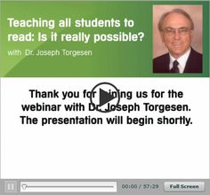 Dr. Joseph Torgesen Presents - Teaching all students to read: is it really possible? #teaching #webinars #resources
