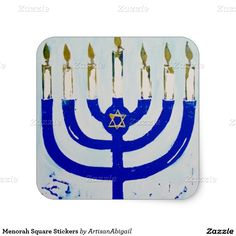 Sold! Thank you to the customer and enjoy! Menorah Square Stickers; ArtisanAbigail at Zazzle