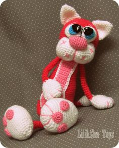 THIS IS A CROCHET PATTERN WITH PICTURES FOR MAKING A TOY, NOT A TOY INSELF. This is a crochet pattern with pictures for making a toy, not a toy itself. Amigurumi Pattern - Cherry Cat Toy's height – 30cm This tutorial contains 25 detailed illustrations. The pattern is very detailed, with illustrations of a good quality. =================== Materials: Yarn suggested – rather thick yarn (DK) 100% ac...