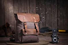 Coffee  Canvas Bag Student laptop Backpacks Leisure Leather and Canvas Backpack School Canvas Bags