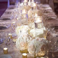 An abundance of mercury candles placed between heavenly florals designed by @designhousedecor. Photo by @philip_siciliano. Stationary by the lovely ladies @theweddingcompany and linens by @lasarlinens. #eventdesigner #floraldesigner #eventdesign #decor #candles #decor #eventdesigner #floraldesigner #weddings #weddingfloral #gardencityhotel #gardencity #longislandwedding #2015wedding by designhousedecor