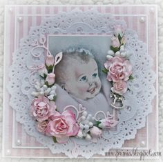Shabby card for a baby girl. Panduro