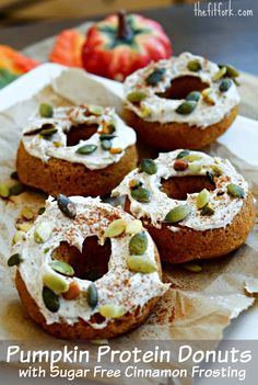Sugar Free Pumpkin Protein Donuts with Cinnamon Frosting - healthy breakfast or post workout snack that is oh-so Fall season
