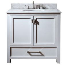 Ove Decors Rachel White Undermount Single Sink Birch Bathroom Vanity With Natural Marble Top Common 36 In X 22 Actual I
