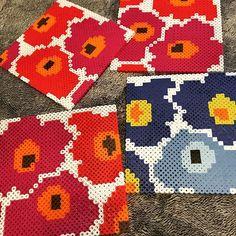 Marimekko coasters perler beads by ofwoody_nami Hama Beads Coasters, Diy Perler Beads, Perler Bead Art, Pearler Beads, Pearler Bead Patterns, Bead Loom Patterns, Perler Patterns, Beading Patterns, 8bit Art