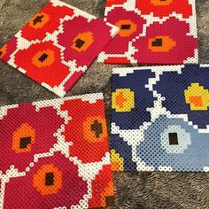 Marimekko coasters perler beads by ofwoody_nami
