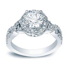 Auriya Platinum 1ct TDW Certified Round Diamond Braided Halo Engagement Ring