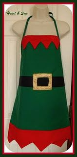 elf apron... Make one for each of the kids for our yearly cookie baking/decorating. Buy green apron, add red, black, and gold felt.