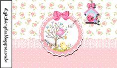 "Kit de Personalizados Tema ""Passarinhos"" para Meninas para Imprimir - Convites Digitais Simples"